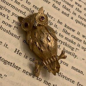 Vintage Owl with Red Rhinestone Eyes Brooch